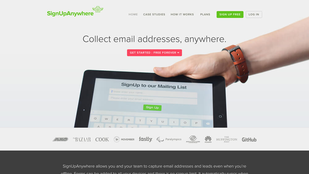 Collect email addresses | SignUpAnywhere