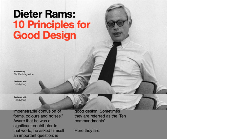 'Dieter Rams: Ten Principles For Good Design' by Shuffle | Readymag