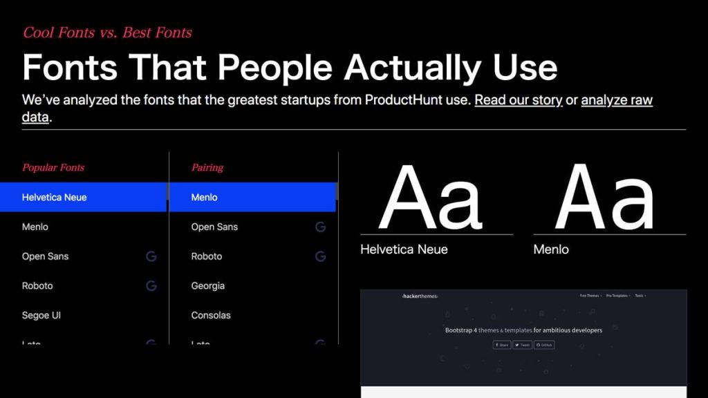 スタートアップが利用するフォントを集めた 『Fonts That People Actually Use』