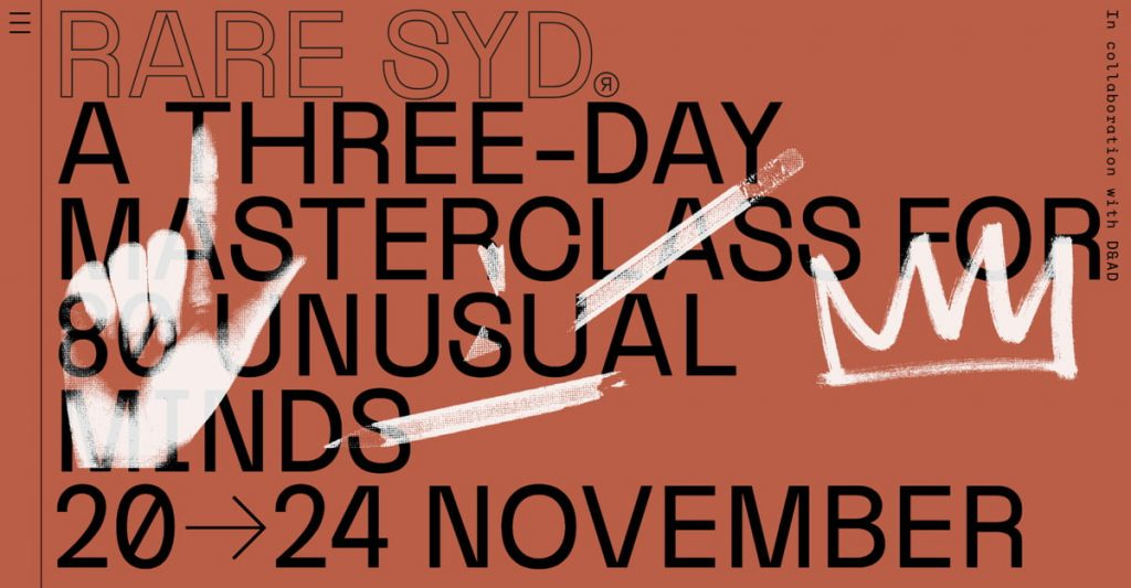 RARE SYD — A four day masterclass for 80 unusual minds
